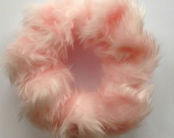 Large Baby Pink Fun Fur Fluffy Scrunchie