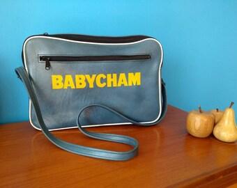 Original 1970s Babysham Teal Blue logo Holdall