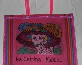 LA CATRINA MEXICO / Pulque de Apan:Bolsa de Mercado- Large Pink Heavy Duty Reusable Grocery Market Shopping Bag- Handmade in Oaxaca,Mexico