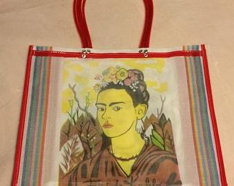 Frida Kahlo de Rivera Bolsa de Mercado- Large White Heavy Duty Reusable Grocery Market Shopping Bag- Handmade in Oaxaca, Mexico