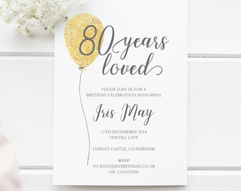80th Birthday Invitation 80 Years Loved EDITABLE Template A5 And 5x7 Instant Download