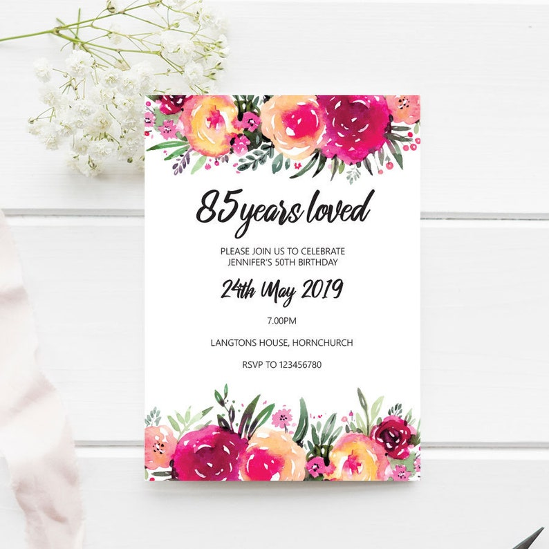 85th Birthday Invitation 85 Years Loved Flower EDITABLE Template 5x7 Instant Download