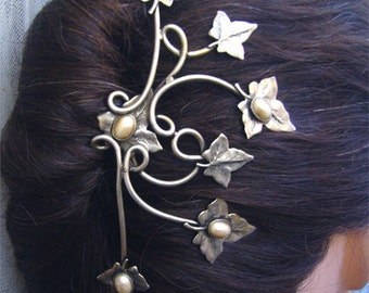Hairpin ivy leaves with pearls