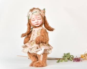 d76d808b1a6 Artist clay teddy doll bunny rabbit toy Baby bunny clay doll ooak rabbit  artist doll closed eye baby doll bunny rabbit stuffed animal toy