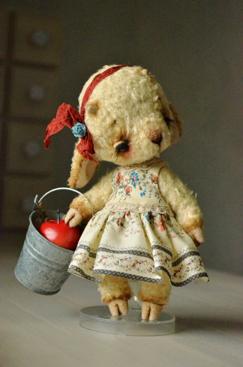Artist teddy bear toy stuffed animal toy collectible toy jointed ooak toy plush toy farm animal toy ooak teddy toy sheep toy lamb teddy toy