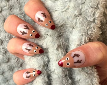 false nails christmas festive rudolph reindeer stick on the holy nail