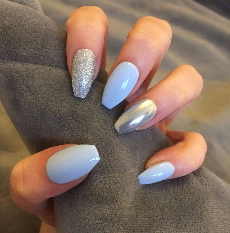 False Nails Baby Blue Silver Glitter Chrome Accents Etsy