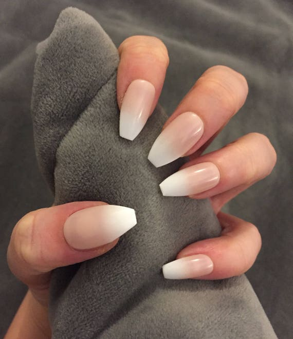 FALSE NAILS Natural Tan French Ombre Baby Boomer Stick On   Etsy