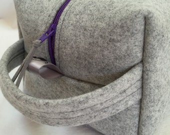 Gray Felt Cube with Cranberry Red Zipper