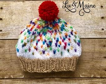e745e2e1dd6 Hand Knit Cupcake Hat - Vanilla with Sprinkles - Ready to Ship