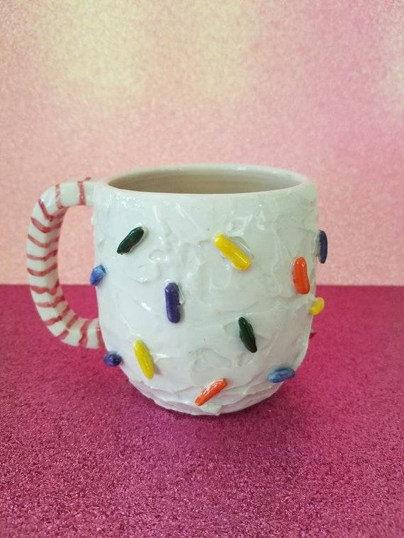 Sprinkle Mug Birthday Cake Pottery Mug Handmade Ceramic Etsy