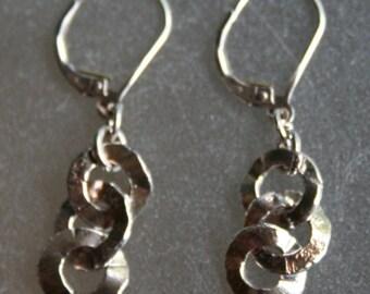 Forged Wavey Earrings Fine Silver