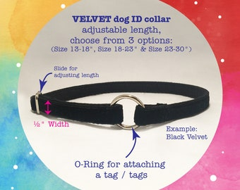 """GREYHOUND Dog velvet trim tag collar - 1/2"""" width, Choose Size, Choose from 6 colors, Option for Customized Aluminum Engraving ID!"""