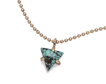Triangle turquoise pendant necklace