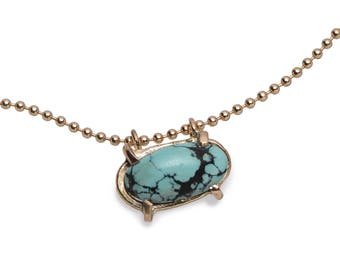 Oval turquoise pendant necklace