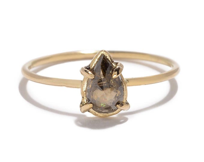Featured listing image: Brown pear cut natural diamond ring