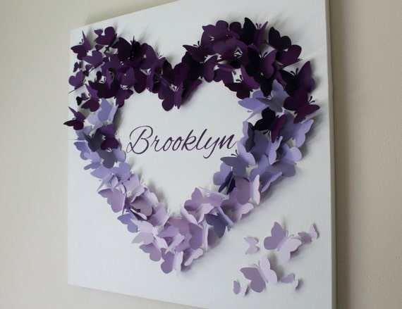 Personalized purple ombre butterfly wall art made to order - Purple ombre wall ...