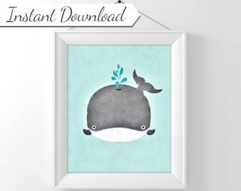 Aqua Whale Watercolor, Whale Print, Whale Nursery Art, Boy Nursery Decor, Whale Decor, Cute Whale, Printable Nursery Art, Printable Whale