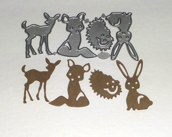 Forest Friends Metal Cutting Dies,Trees,Stag,Fox,Bunny,Stencil,Craft,Card Making