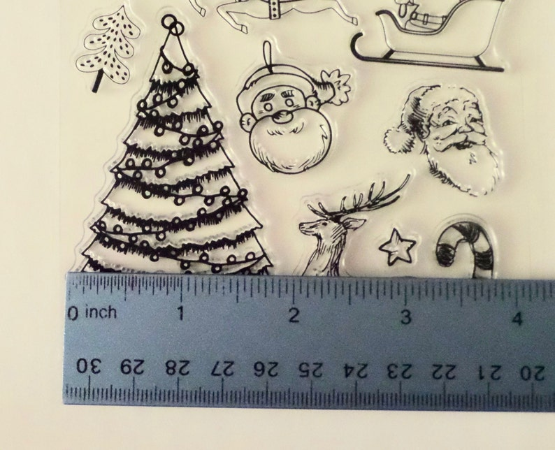 Christmas Holiday Silicone Merry Christmas Candy Cane Plastic Tree Rubber unmounted Sleigh Star Bell Santa