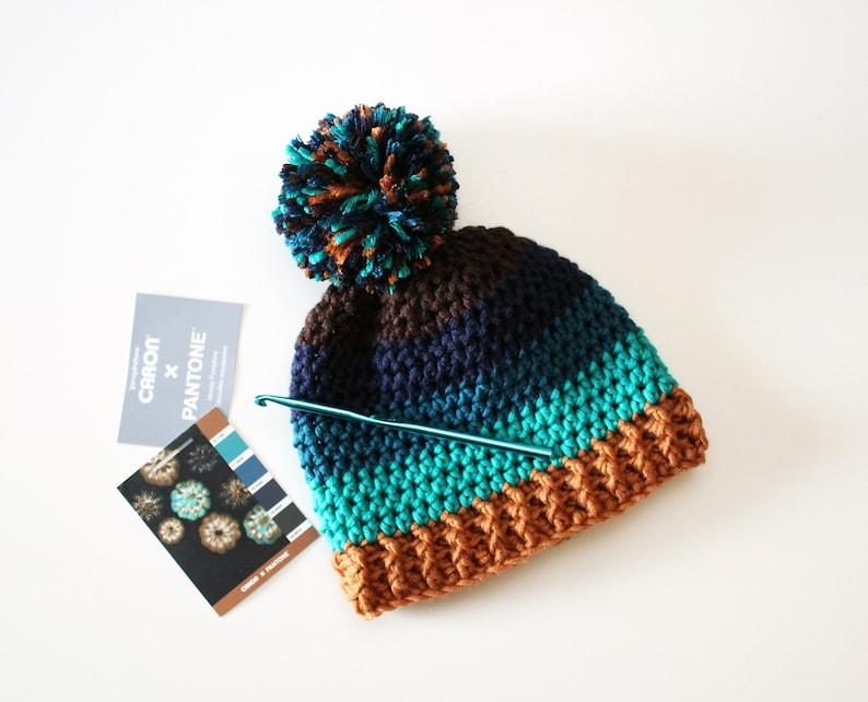 24b7e0e2d3d Caron x Pantone Colour Block Hat Crochet Pattern Digital