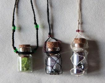 Glass bottle / jar necklace jewelry boho crystal potion alhemy pagan for bjd doll universal size minifee unoa msd sd feeple ooak