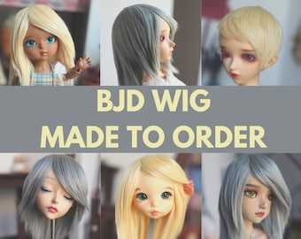 """MADE TO ORDER Bjd Wig many sizes handmade hand dyed bamboo and soy fiber bjd doll 7"""" msd"""