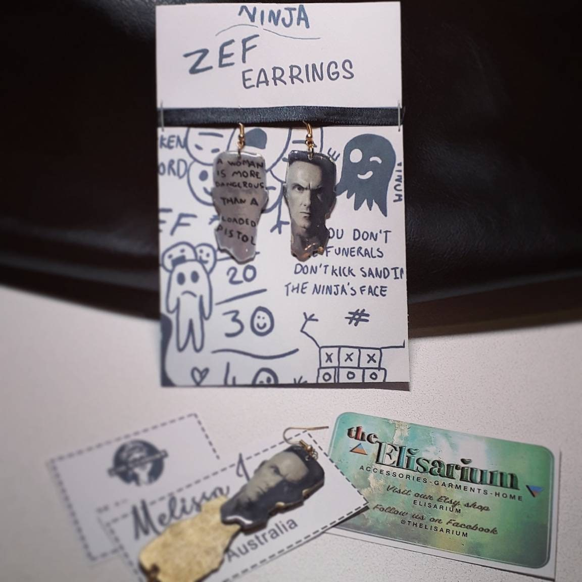 Die Antwoord Zef Style Earrings Merchandise Ninja Quote Singer
