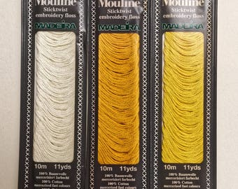 Yellow Embroidery Floss, 3 Shades Yellow, Hand Embroidery Yarn, Cross Stitch Crewel Needlepoint Thread, Needlecraft Notions