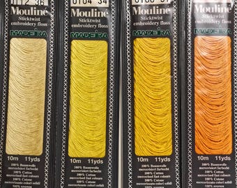 Yellow Embroidery Floss, 4 Shades Yellow Orange, Hand Embroidery Yarn, Cross Stitch Crewel Needlepoint Thread, Needlecraft Notions