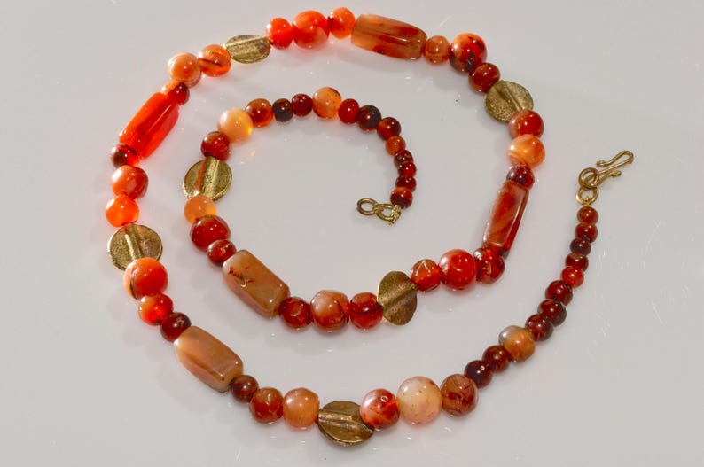 Anniversary Birthday Christmas Gift for Her African Heritage Rare Antique African Trade Beads Unique Ethnic Jewelry Carnelian Necklace