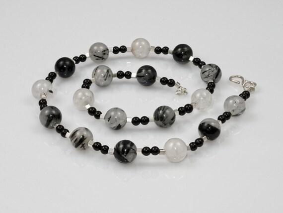 c8701e94b74b7d Damen Kette Turmalin Quarz Kette Beads-in-Fashion schwarz weiß