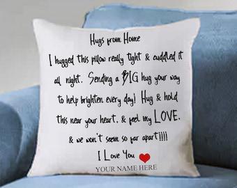 Hand Sewn Pillow Sham / Hugs from Home / Hugs for Love
