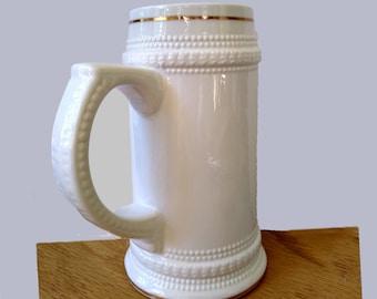 Ceramic Beer Stein with Gold Trim - 22oz.