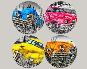 Sandstone/Porcelain Coasters - Set of 4 Antique Cars