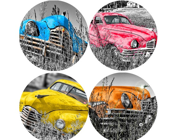 Sandstone Coasters - Set of 4 Antique Cars