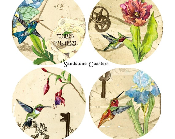 Gorgeous Humming Birds - Set of 4 Sandstone Coasters