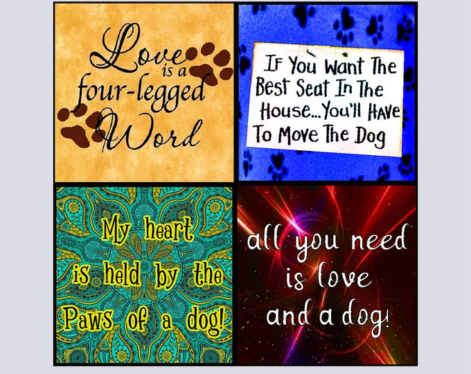 Featured listing image: COASTERS - Pet Sayings on Hardboard with Cork Bottom-SQUARE-ROUND