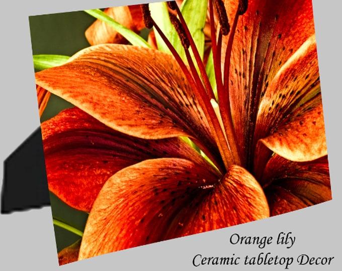 "Featured listing image: Ceramic Photo Panels - 8""x10""  -Orange Lily -  White Birch"