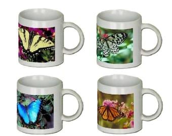 Coffee Mugs - Ceramic - Butterfly  set of 4 - 11 oz