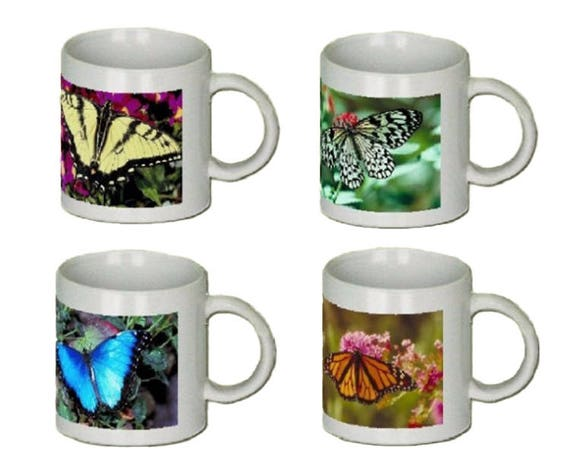 Coffee Mugs - Ceramic - Butterfly  set of 4 - 11 oz