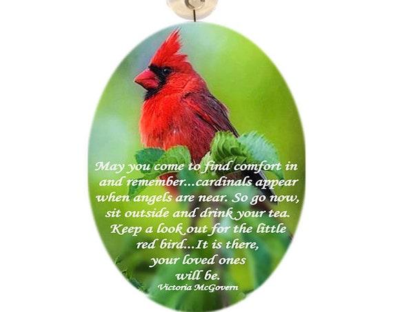 Large Glass Suncatcher - Cardinal (w/ memorial poem)