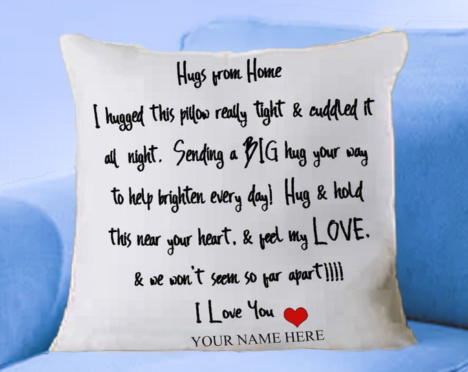 Featured listing image: Hand Sewn Pillow Sham / Hugs from Home / Hugs for Love