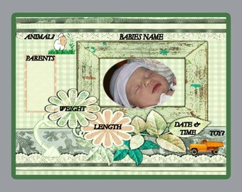 """Children's Photo Props - 8""""x 10"""" - Birth Certificate - First Picture - Baby and Mom"""