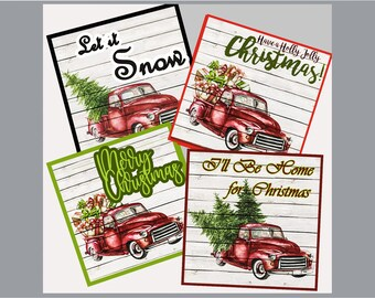 COASTERS -'Christmas Truck' -4 Beautiful Country Christmas