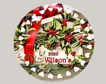 "Vintage Ornaments - Christmas - Porcelain - 4""- Personalization Free"
