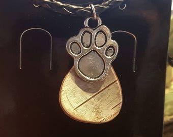 Birch Bark paw print necklace
