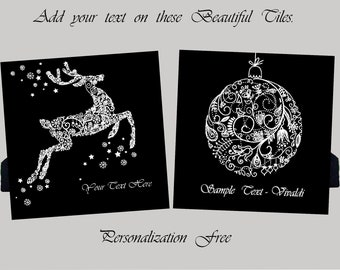 Christmas/Holiday Greeting Tiles - Black and White - Personalize them FREE!