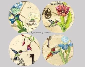 Gorgeous Humming Birds - Set of 4 Sandstone Coasters