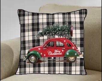 Christmas/Holiday Greeting Pillow - Beautiful Linen